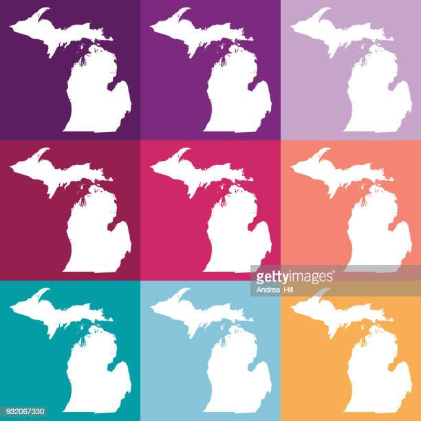 vector michigan, usa map in muted colors - upper peninsula stock illustrations