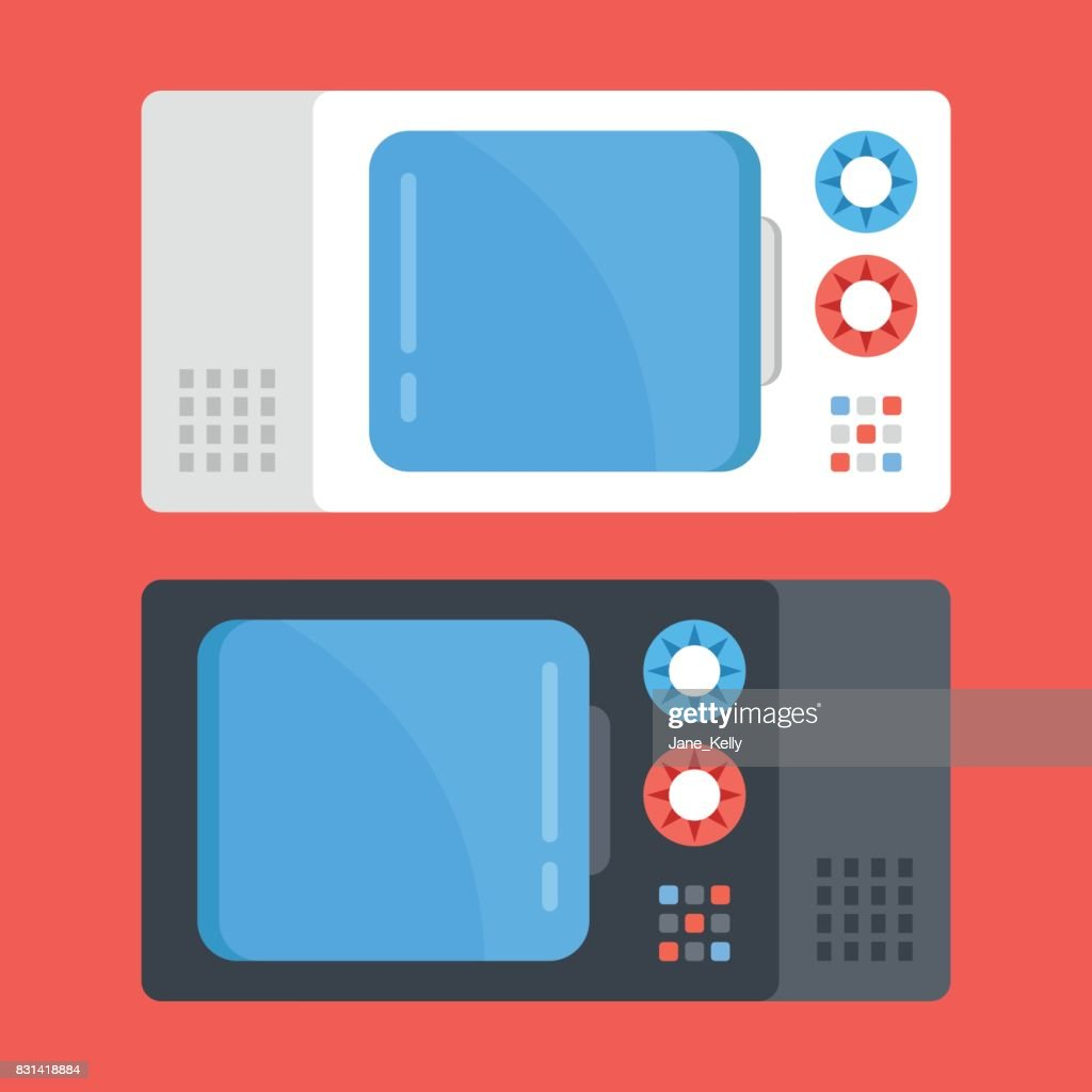 Vector microwave ovens set. Black and white microwave. Modern flat design vector illustration