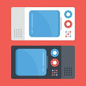 Vector microwave ovens set. Black and white microwave. Modern flat design vector illustration