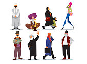 Vector middle eastern people isolated on white