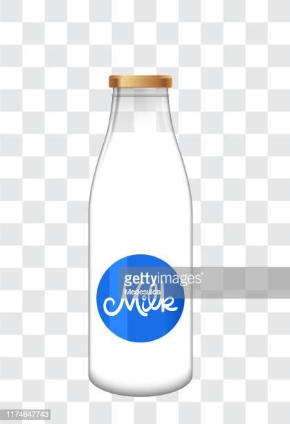 vector milk bottle - milk bottle stock illustrations