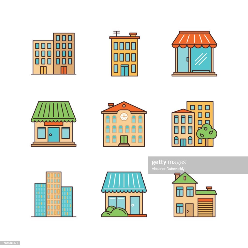 Vector minimal lineart building iconset. Skyscrapper, shop, store, school, townhouse.