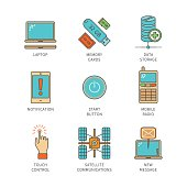 Vector minimal lineart flat electronics icons set