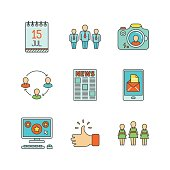 Vector minimal lineart flat social networking iconset