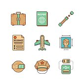 Vector minimal lineart flat travel iconset: suitcase, passport, seat belt, insurance, airplane, photo, wifi, police, usb plug,