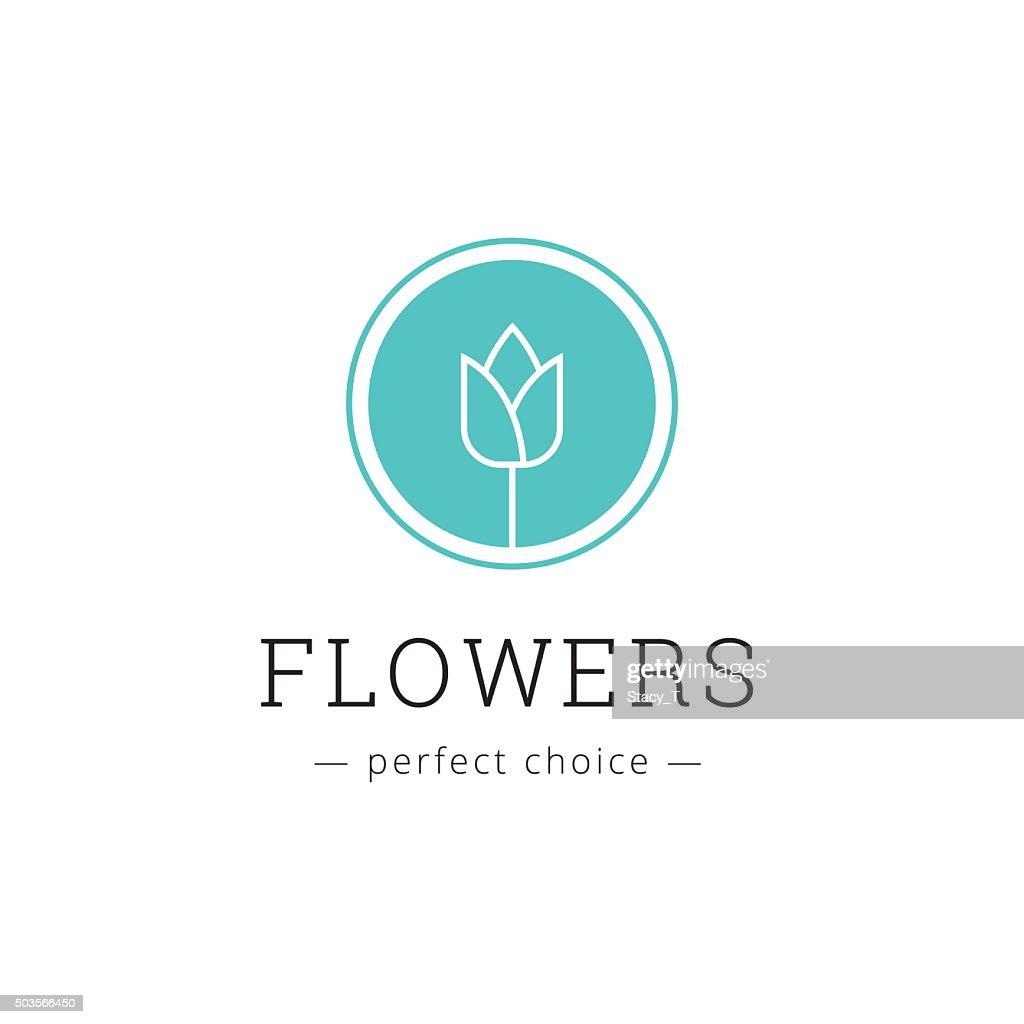 Vector minimalistic flower shop icon. Tulip sign