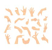 Vector Mix set of beautiful Woman's hand isolated on white