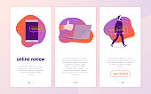Vector mobile app interface concept design with online review.