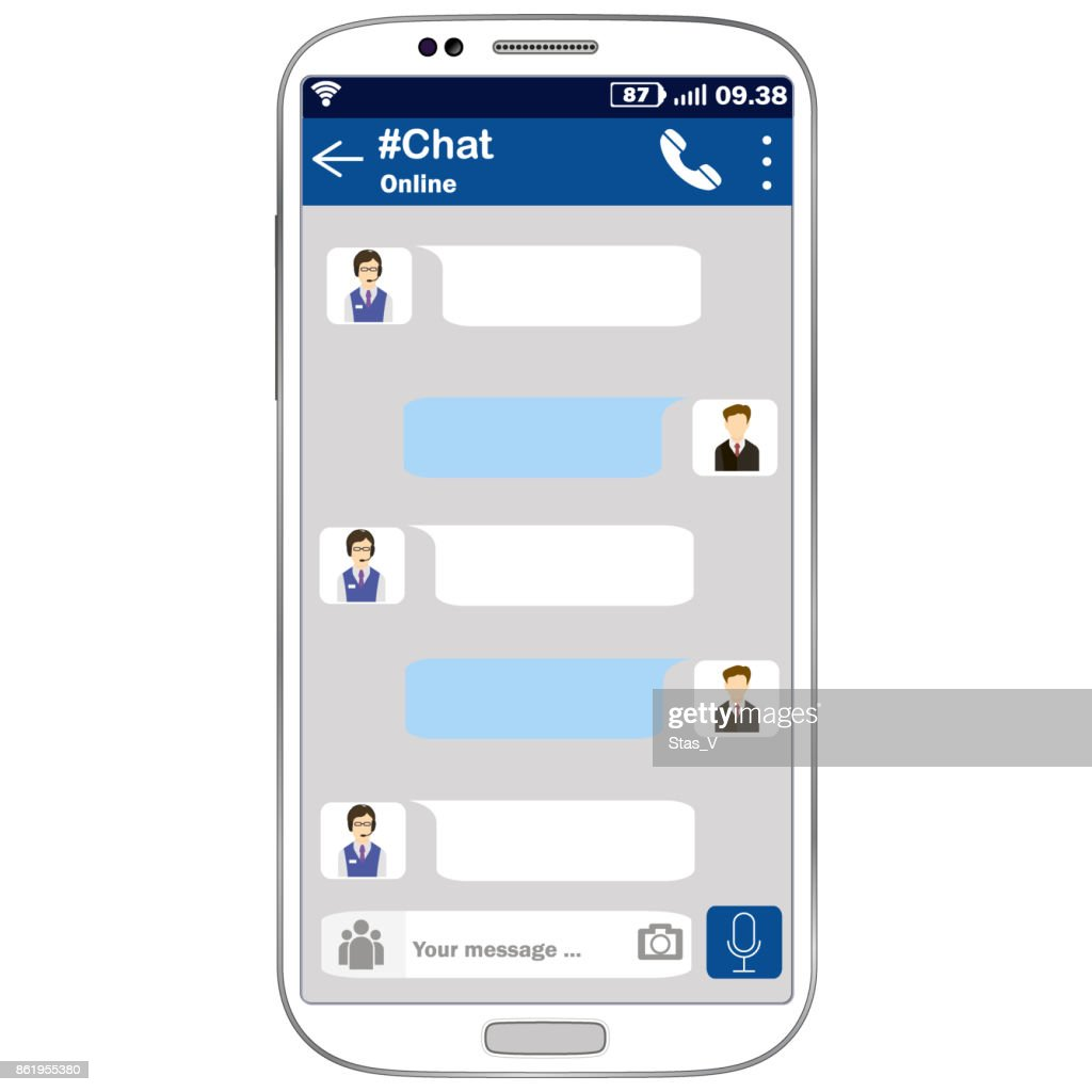 Vector mobile phone chat interface to contact the support administrator. Messenger app.