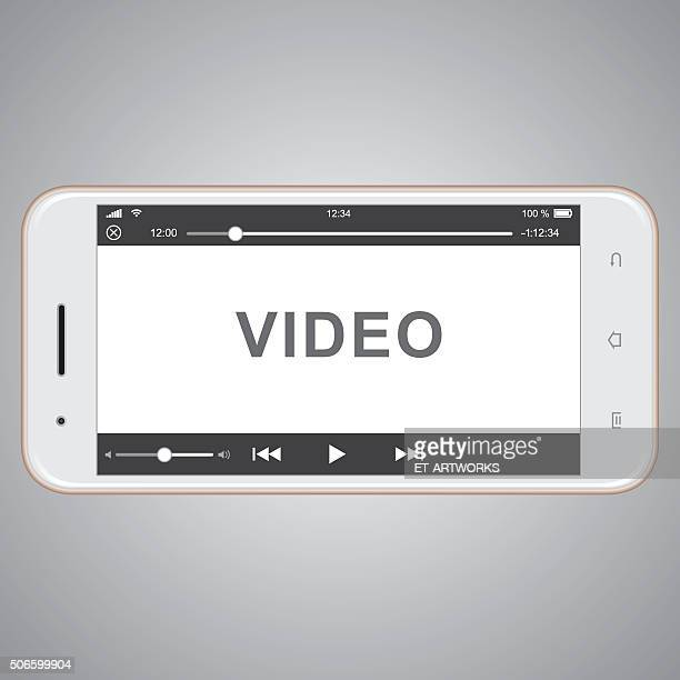 vector mobile phone template for video cover - video camera stock illustrations, clip art, cartoons, & icons
