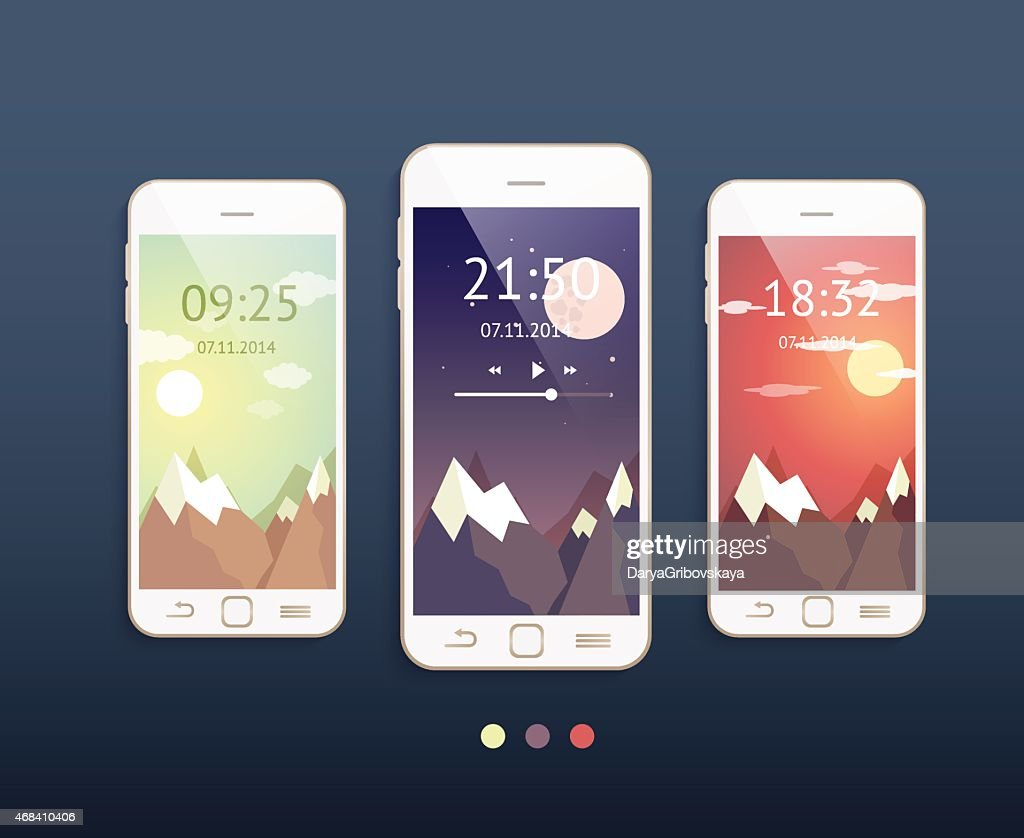 Vector mobile phones with three different backgrounds: morning,
