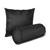 Vector. Mock Up. Black Set Pillow Cylinder, Rectangle_3