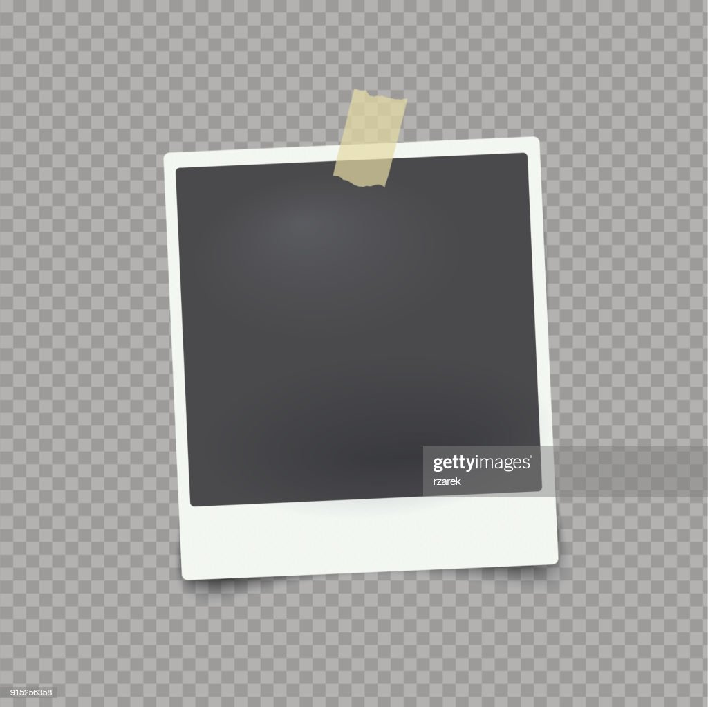 Vector mock up photo frame on transparent background with adhesive tape.