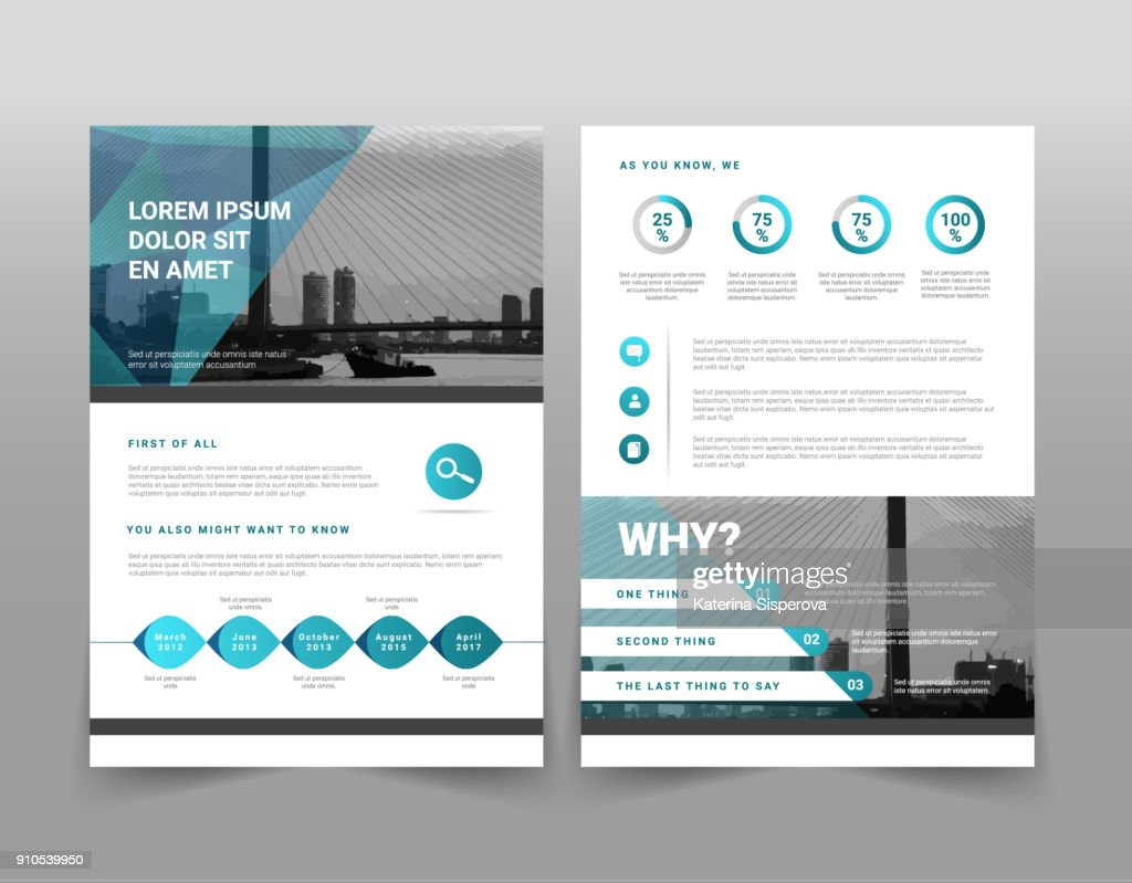 Vector modern blue geometric business brochure or leaflet infographic template