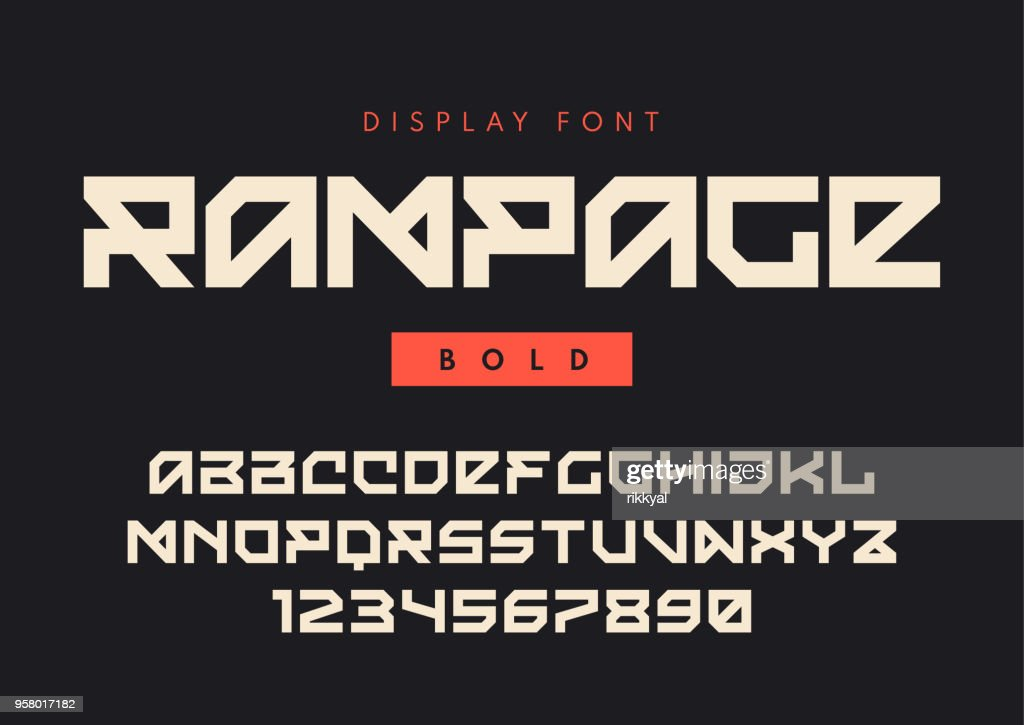 Vector modern bold display font named Rampage, blocky typeface, futuristic uppercase letters and numbers, alphabet.