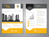 Vector modern brochure with arrow design, abstract flyer with background of monochrome buildings. Layout template. Aspect Ratio for A4 size. Poster of yellow, grey, black and white color. Magazine cover.