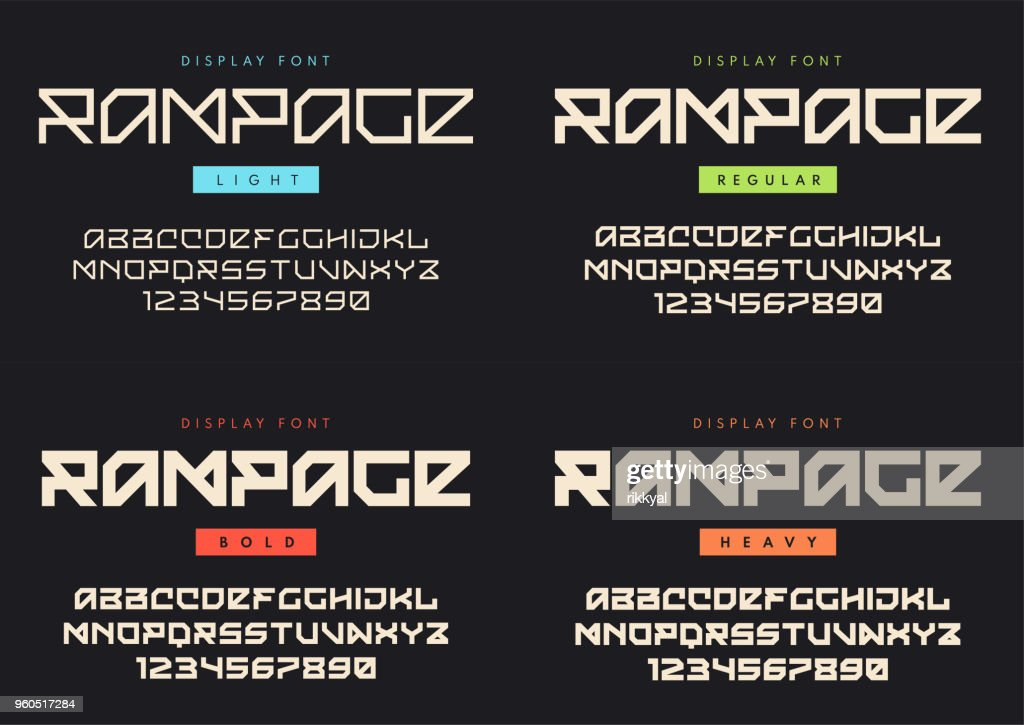 Vector modern display font named Rampage. Light, regular, bold and heavy styles. Blocky typeface, futuristic uppercase letters and numbers, alphabet.