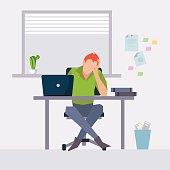 Vector modern flat character design on businessman at work