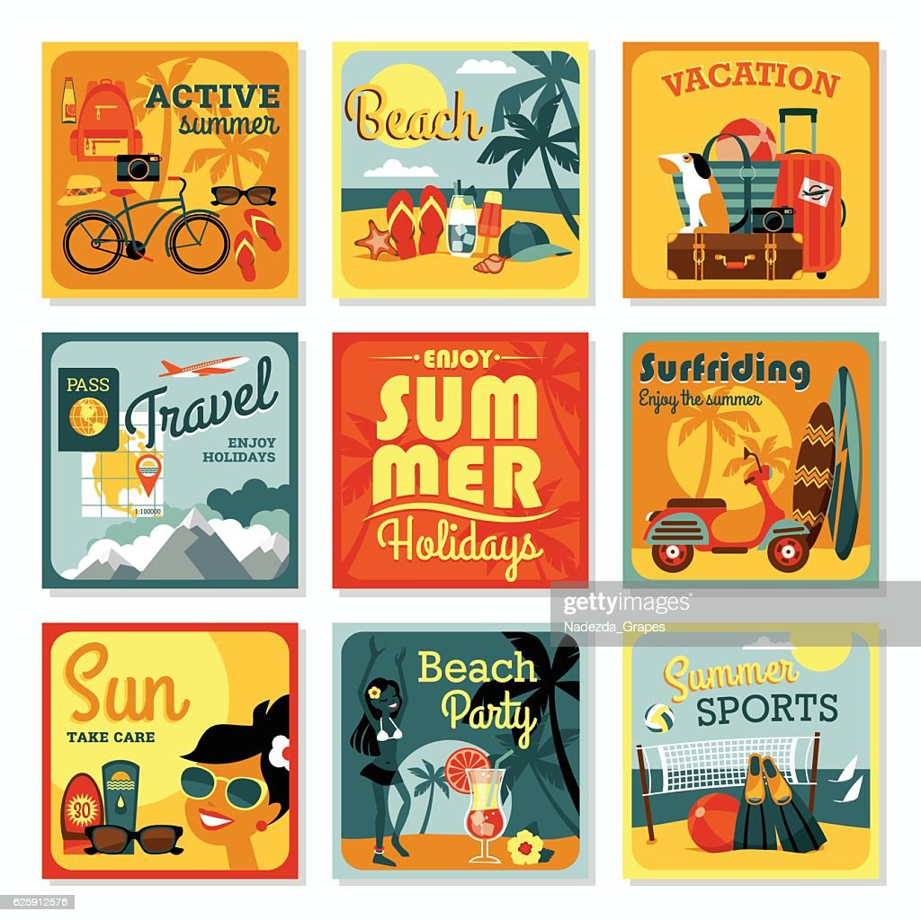 Vector modern flat design cards of summer vacation.