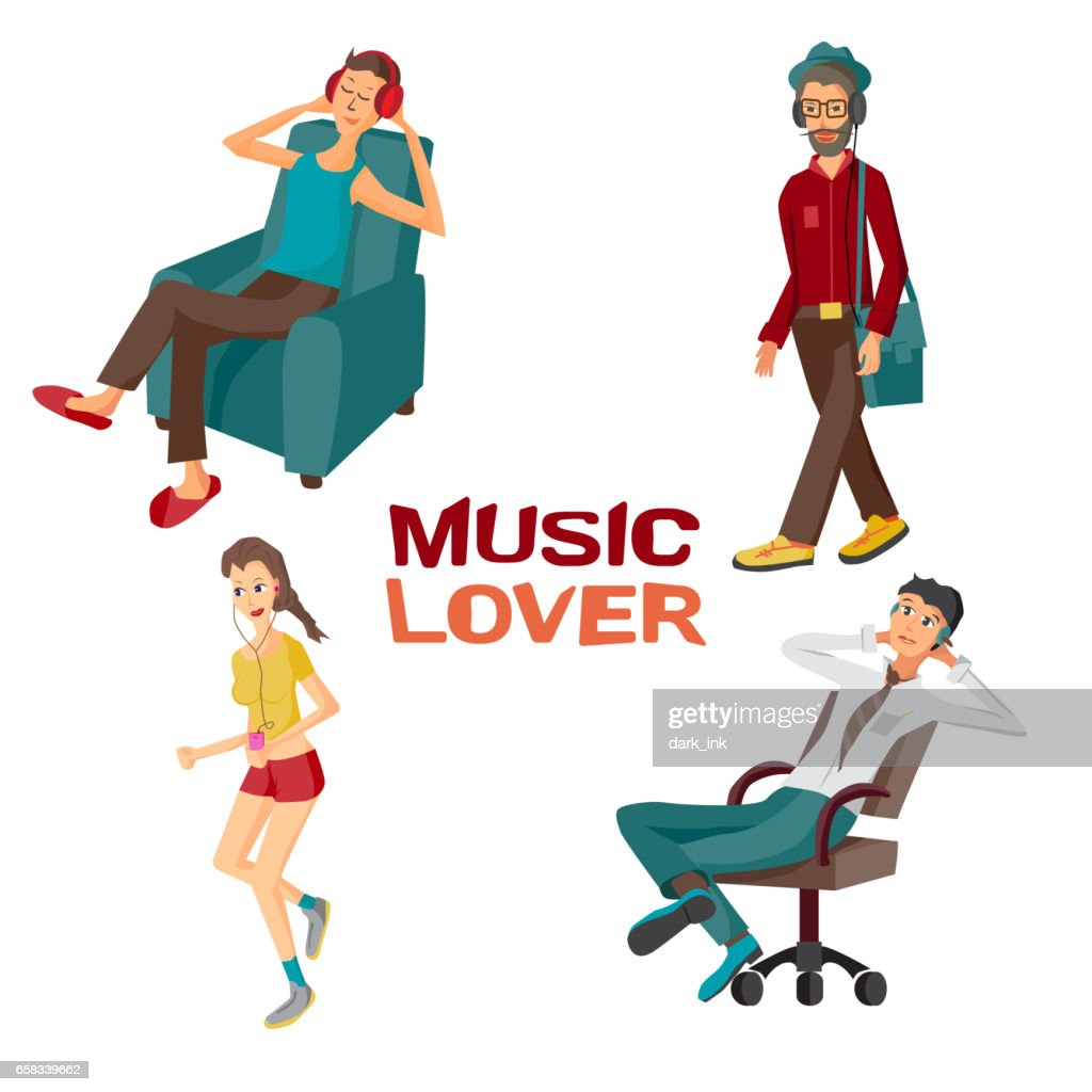 Vector modern flat design people wearing headphones listening music.