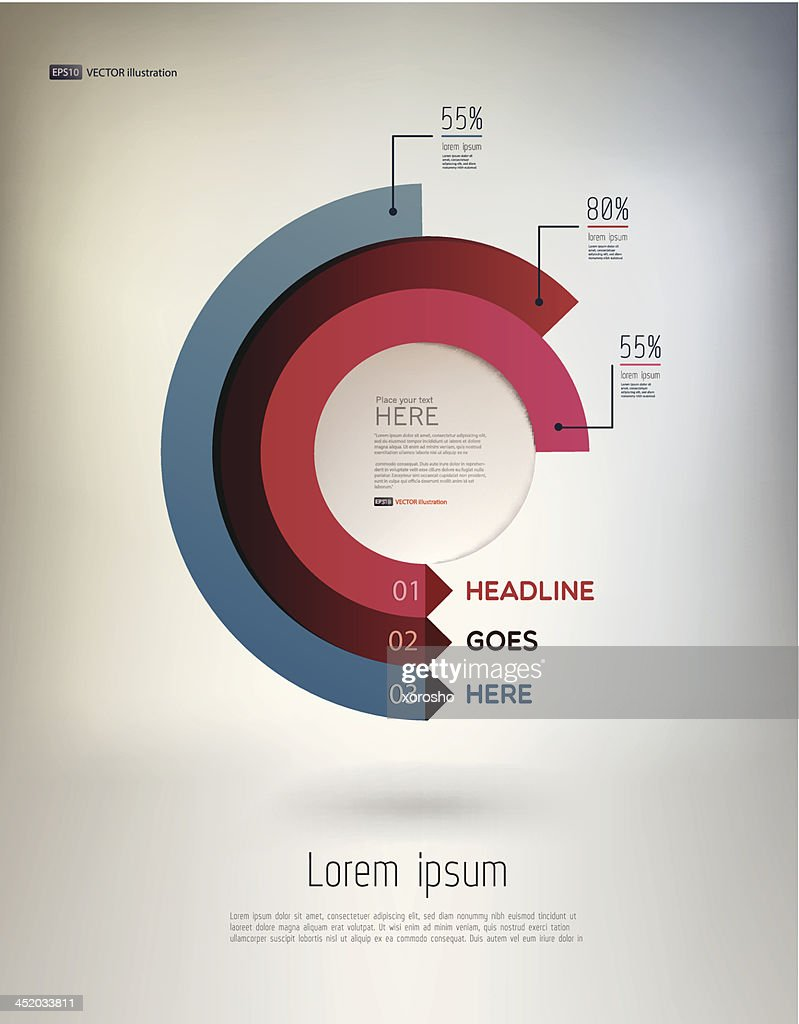 Vector modern infographic elements in semi-circles