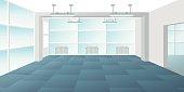 Vector modern loft office interior empty scene in flat style