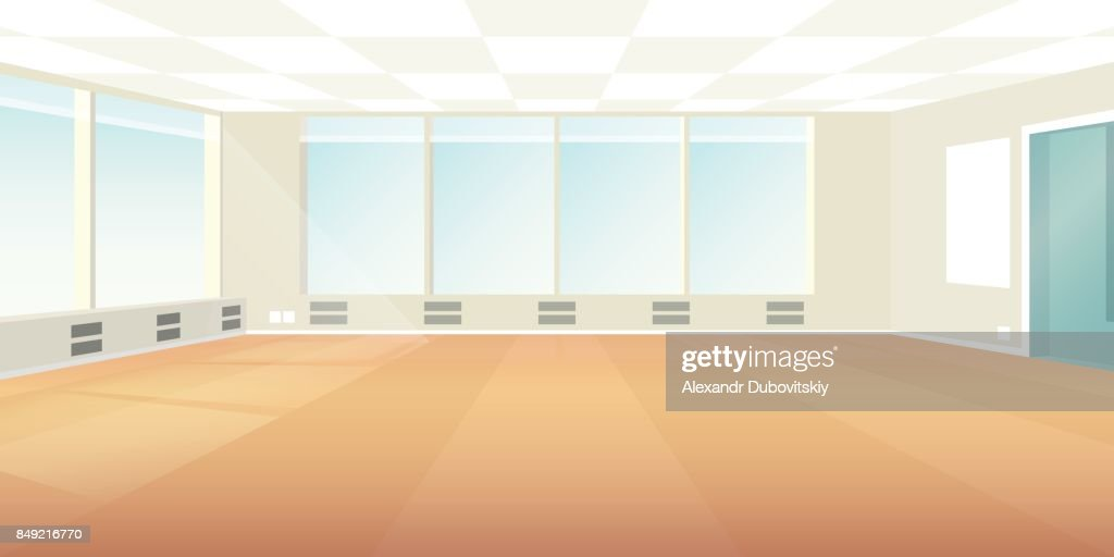 Vector modern loft office interior empty scene in flat style