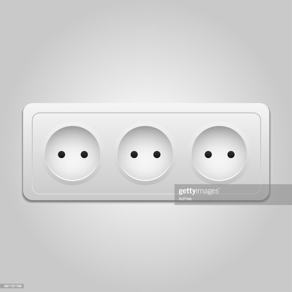 Vector modern power socket  icon on background. Realistic electric outlet.