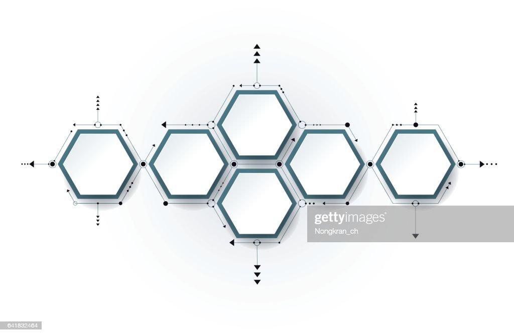 Vector molecule, integrated Hexagon background