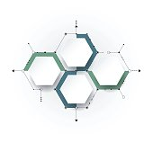 Vector molecule with 3D paper label, integrated Hexagon background