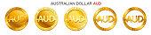 Vector money Australian Dollar sign (australian dollar coin icon) isolated on white background