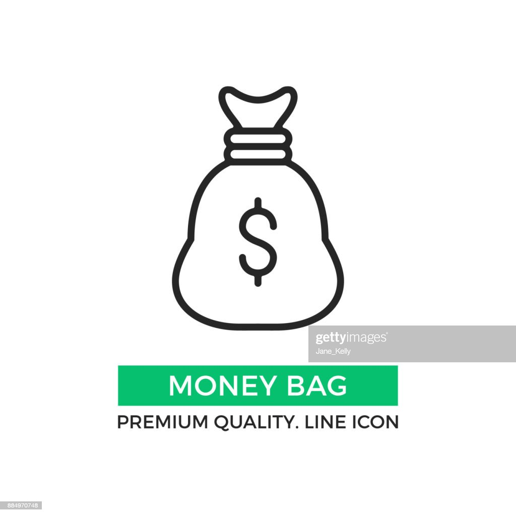Vector money bag icon. Premium quality graphic design element. Modern stroke sign, linear pictogram, outline symbol, simple thin line icon