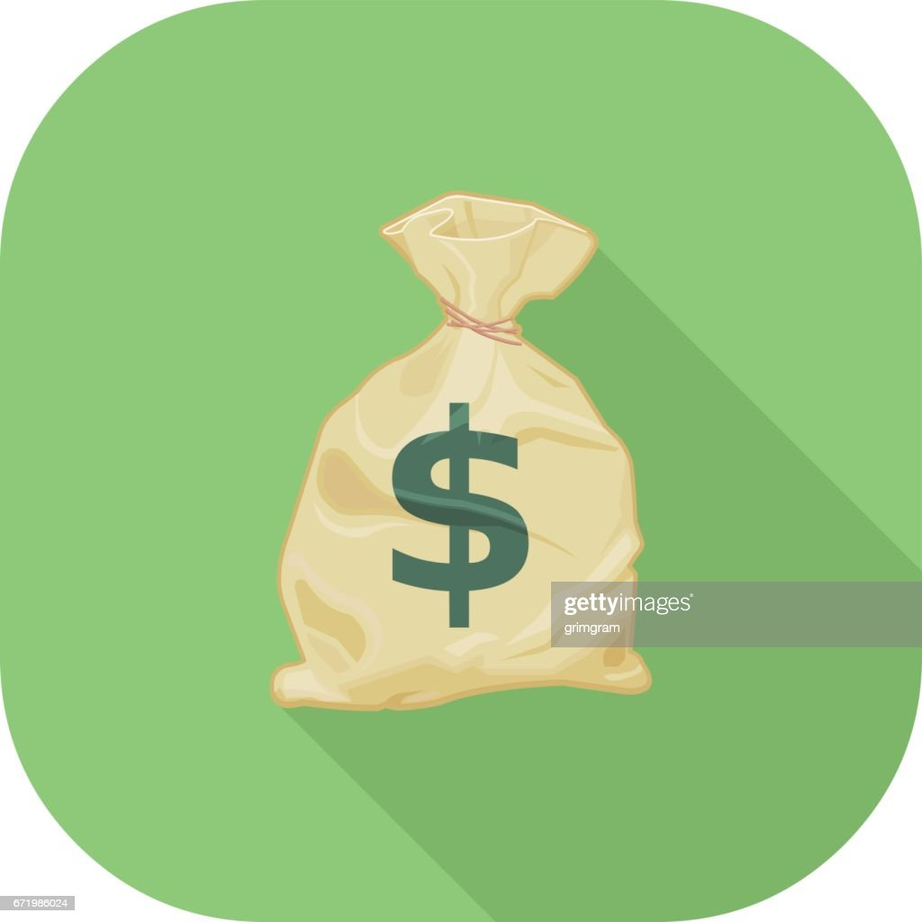 Vector Money Sack Flat Icon.