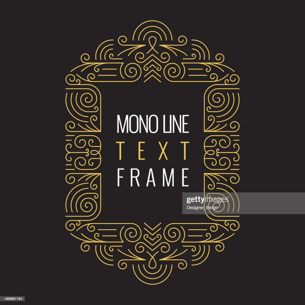 Vector Mono Line style Geometric Frame Template for Text