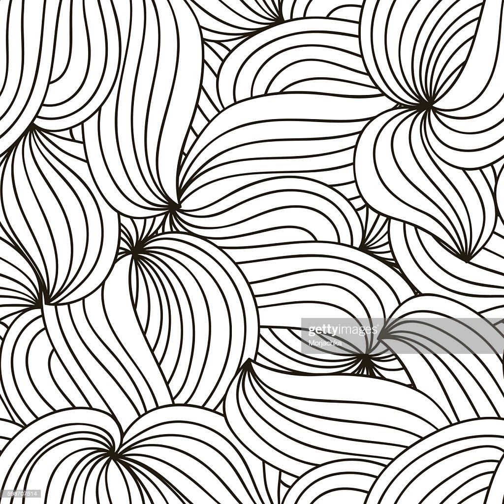 Vector monochrome background. Hand drawn wavy ornament. Template for greeting