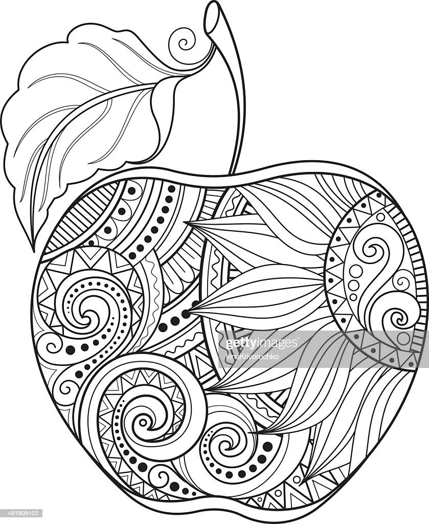 Vector Monochrome Contour Apple