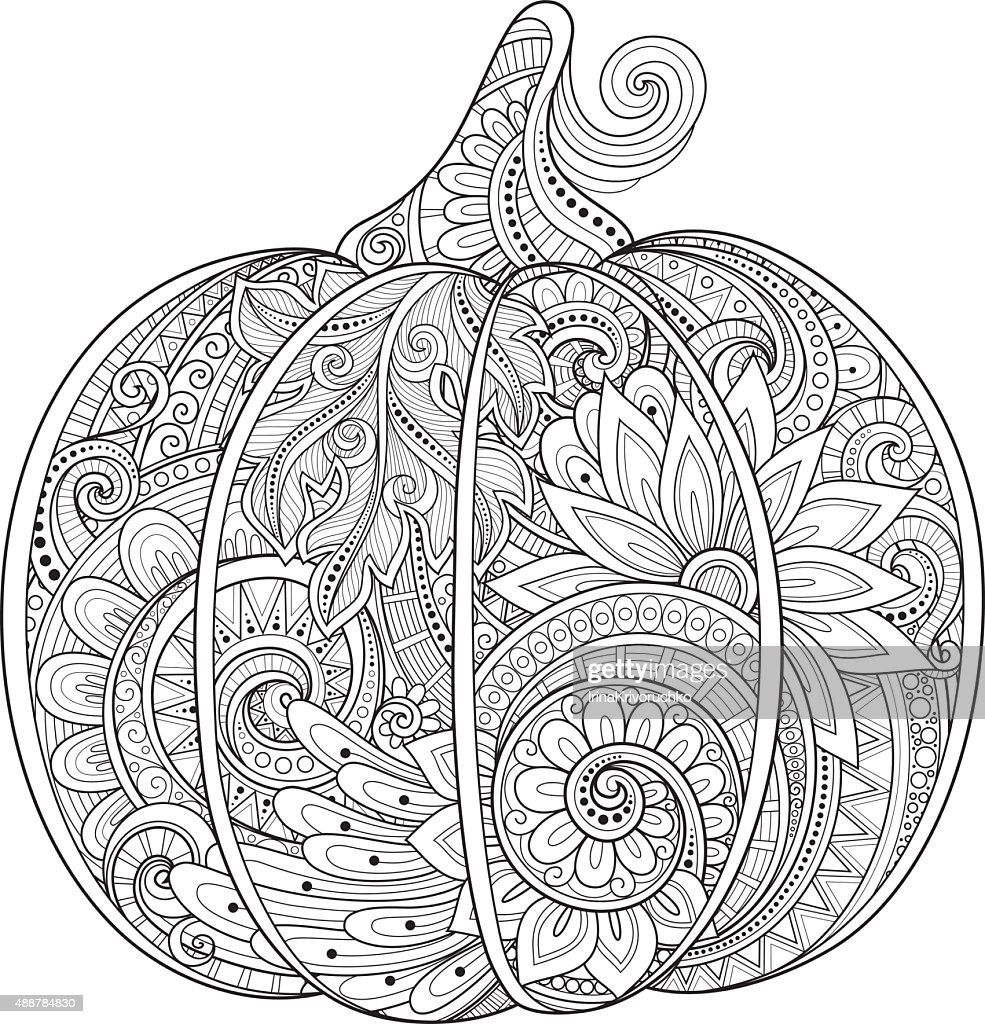 Vector Monochrome Decorative Punkim with Beautiful Pattern
