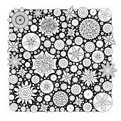 Vector monochrome floral pattern. Imitation of hand drawn flower doodle texture, decorative coloring book for grown up and adult. Endless drawing for stress relief.