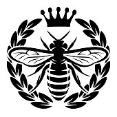 Vector monochrome pattern with flying bee and crown.
