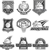 Vector monochrome set basketball designs for print, web, design, advertisement, sports team on a white background