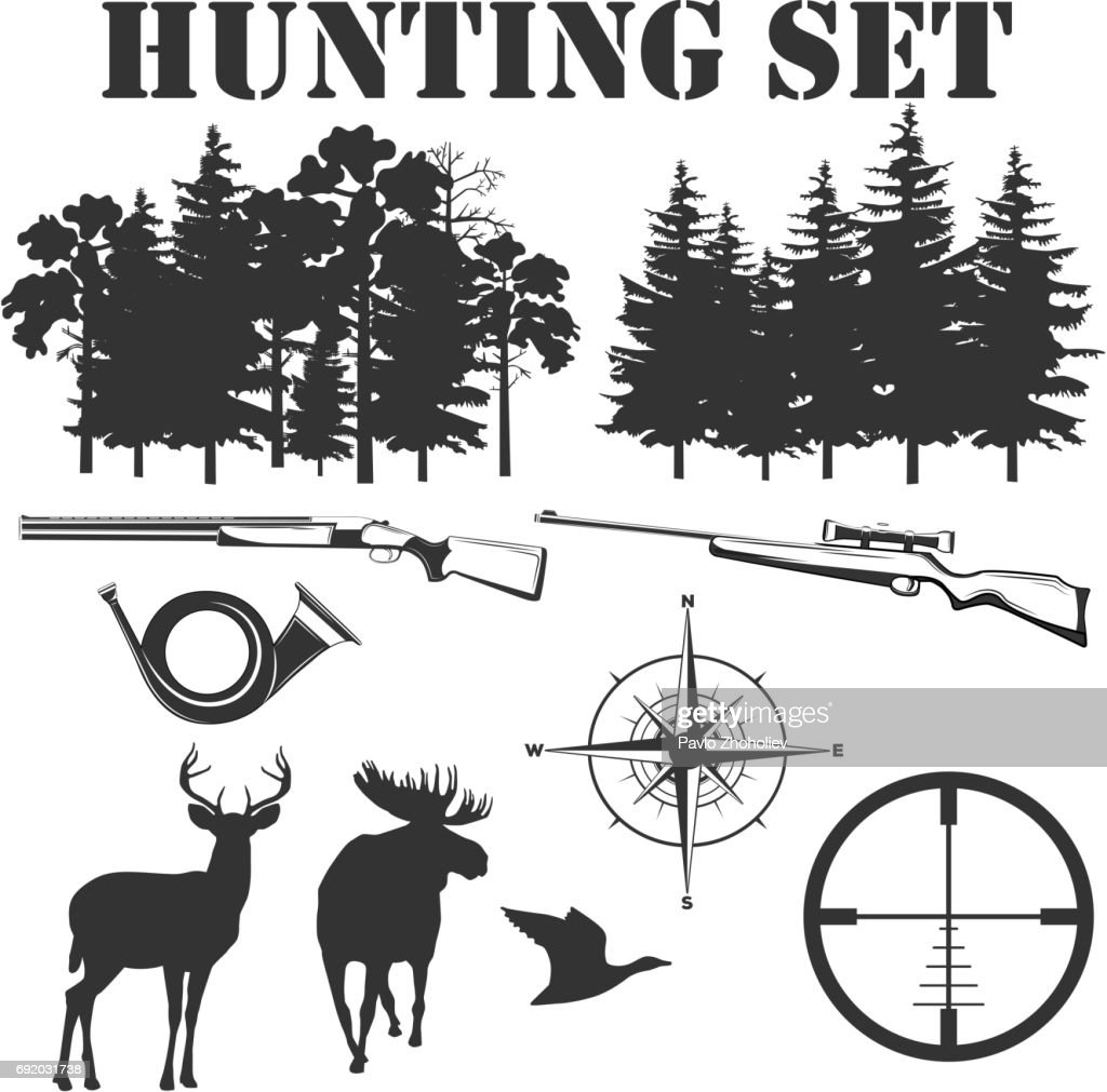 Vector monochrome set of elements for hunting design for use in design, promo, print or other projects