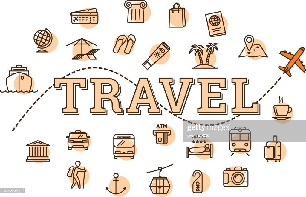 Vector monochrome travel related concept illustration
