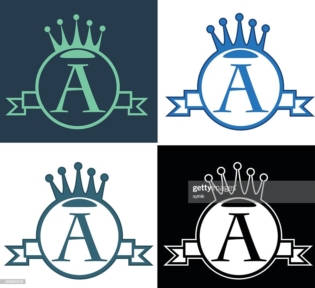 vector monogram with crown, round, banner and type