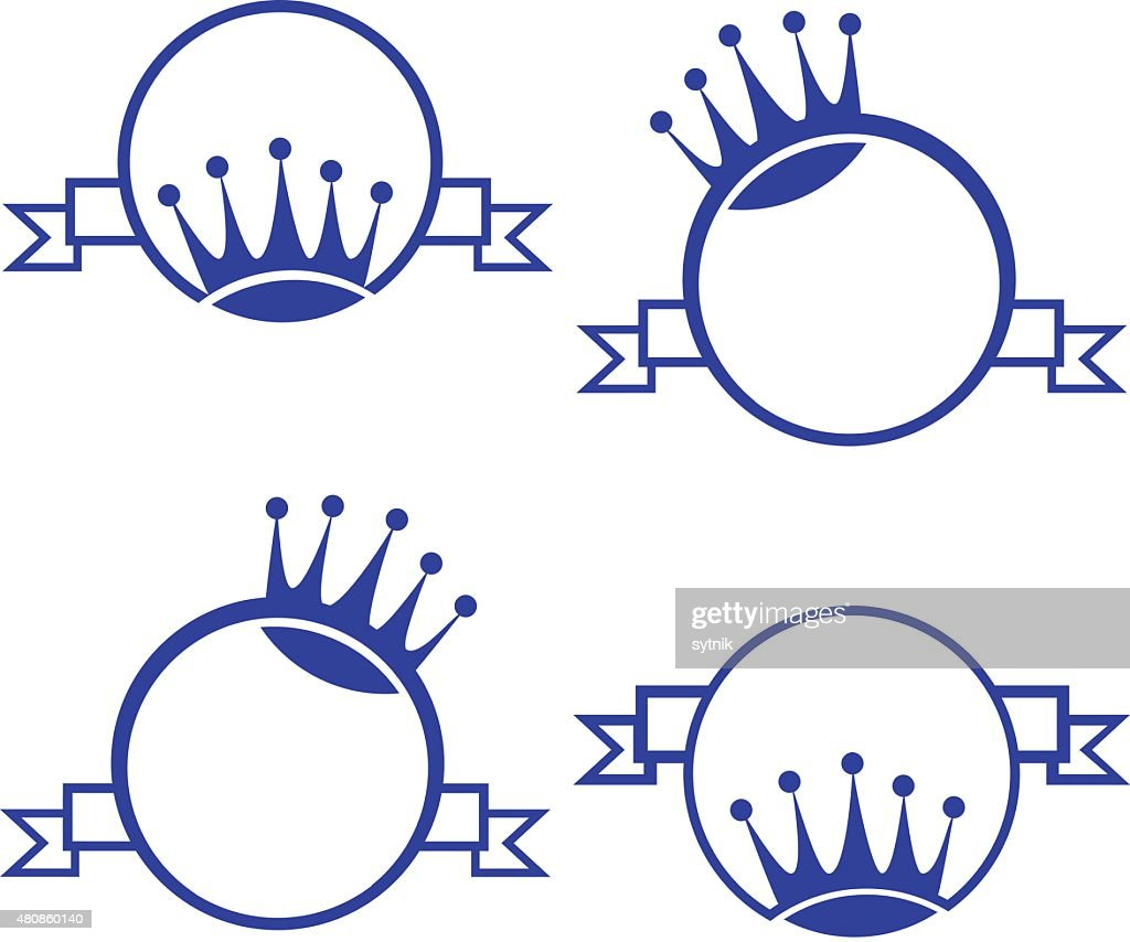 vector monogram with crown, round, banner for packing