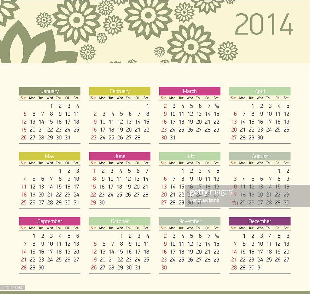 Vector monthly calendar for 2014 : Vector Art