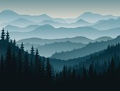 vector morning in mountains