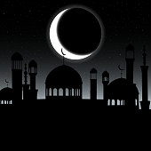 Vector mosque silhouette in night sky with crescent moon and