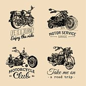 Vector motorcycles inspirational,advertising posters set.Hand sketched illustrations for MC labels.Detailed bikes drawings.