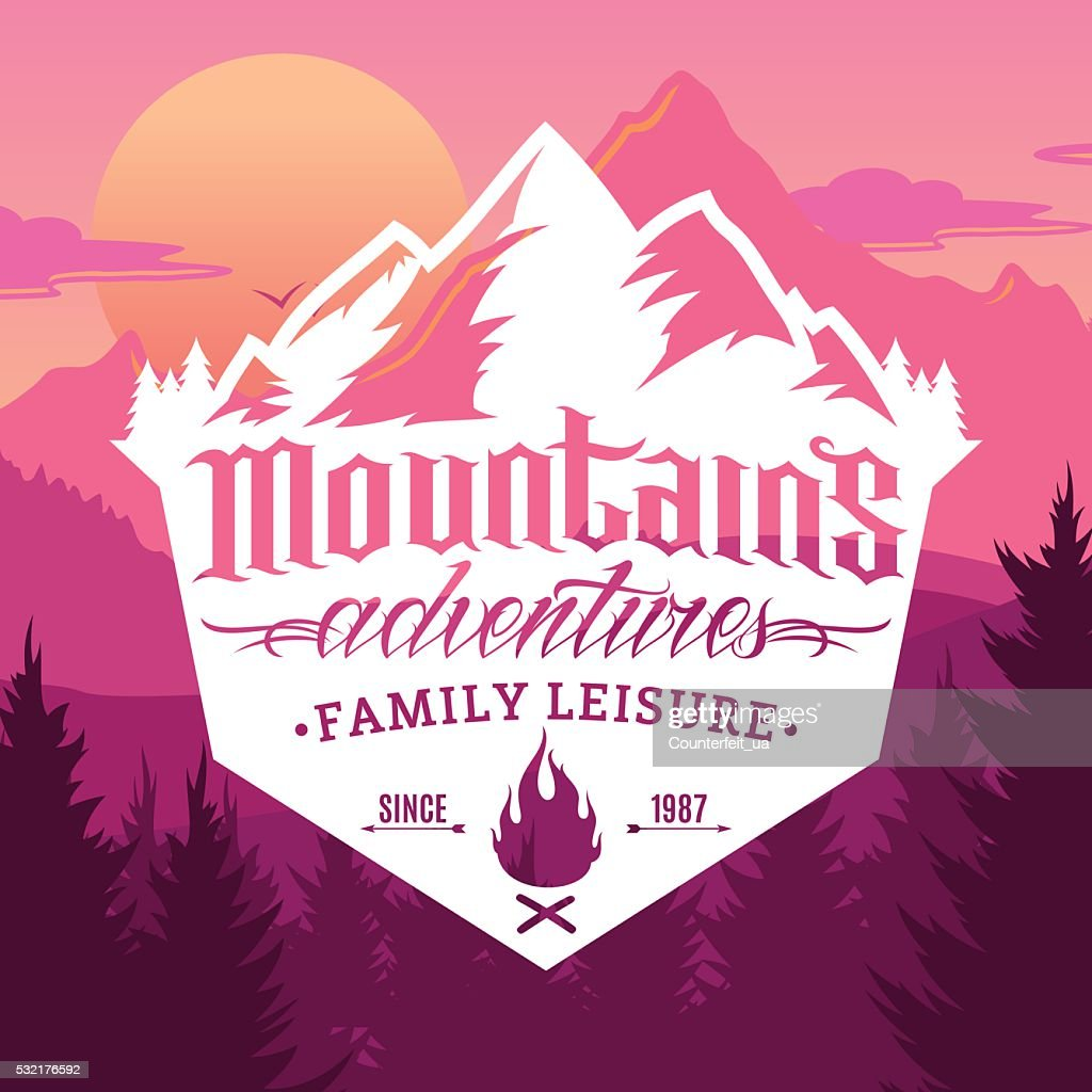 Vector mountain and outdoor adventures labels