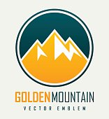 Vector mountain and outdoor adventures logo. Tourism, hiking and camping outdoor label.